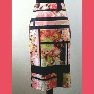 e.c.i. Straight Stretchy Floral Skirt Sz Small